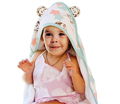 Malino Organic Bamboo Muslin Premium Baby Hooded Bath Towel Double Sided | Highly Absorbent Breathable and Hypoallergenic | Perfect Baby Shower Set | 35x35-Inch for Newborns Infants Toddlers, Unisex