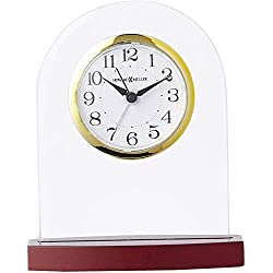 Howard Miller Hansen Table Clock 645-715 – Glass and Rosewood Home Decor with Quartz, Alarm Movement