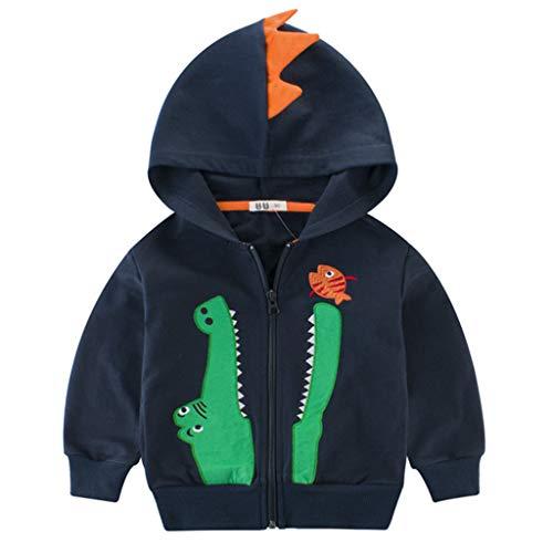 ShenzhenWindyTradingCo.,Ltd Kapuzenjacke Baby Jungen Reißverschluss Dinosaurier Baumwolle Sweatshirts Tops Outfits 1-2 Jahre