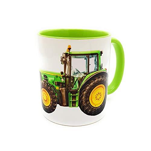 Kilala Traktortasse personalisierbar, Namenstasse mit Traktor Fotodruck, Trecker Tasse inkl. Geschenkverpackung, Weiß & Grün