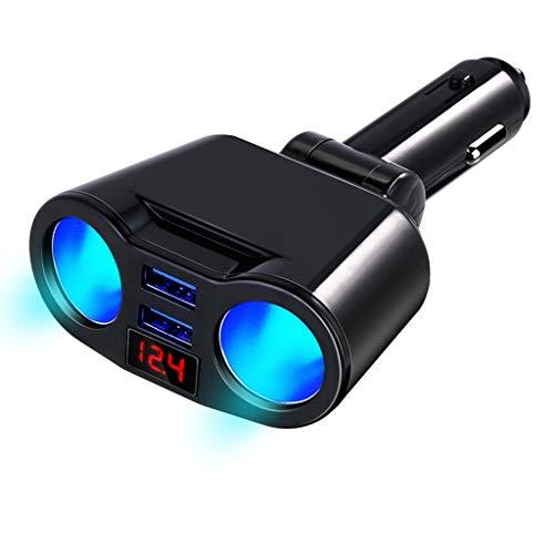siwetg 3 En 1 12V Coche Encendedor De Cigarrillos Enchufe Divisor Enchufe Dual Cargador USB Voltaje Monitor De Corriente para Smartphone Tablet