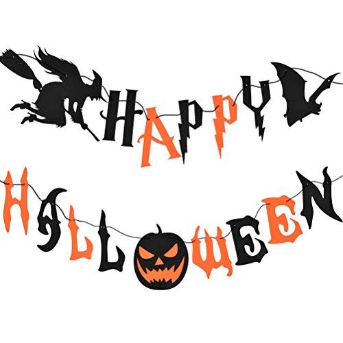 TIMESETL Happy Halloween banner set con lettere pipistrello strega, spaventoso banner di zucca ghirlanda decorazione per decorazioni murali di Halloween accessori per feste set di oggetti di scena