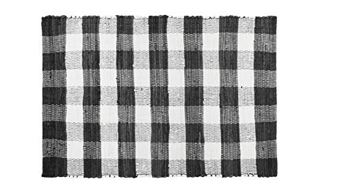 GLAMBURG Cotton Buffalo Check Plaid Rugs Washable Checkered Rug Welcome Door Mat 22x34 Rug for Kitchen Carpet Bathroom Outdoor Porch Laundry Living Room Farmhouse Reversible Rag Rug Black White