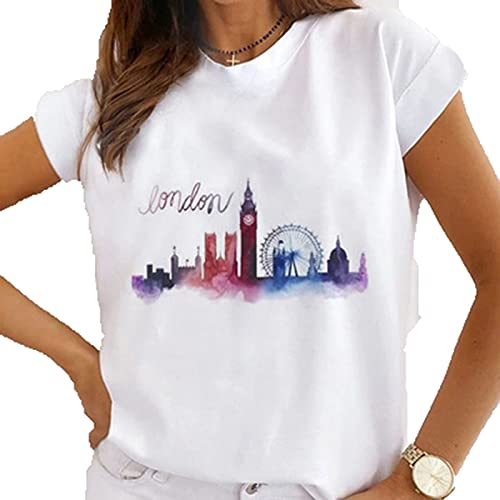 SLYZ Ladies Summer Round Neck Print Short Sleeved T Shirt Casual White All Match Blouse