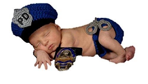 Matissa Bebé recién nacido accesorios de traje de fotografía de punto de ganchillo (Policía)