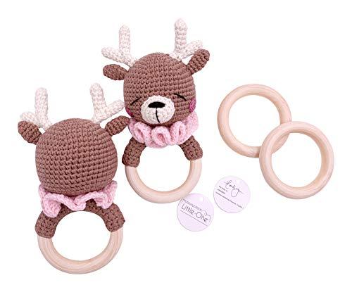 Little One Designer Greiflinge| Handmade Bio Neugeborenes Geschenk | Geschenk zur Geburt | Baby Party |Baby Shower | Renntier Greifling | Baby Girl | Braun Rosa