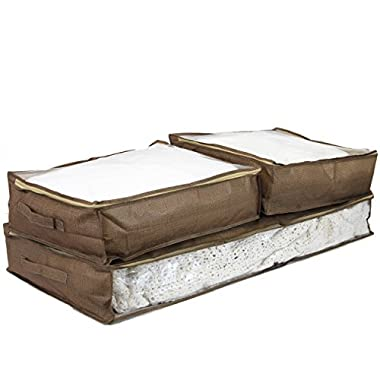 Set of 3 - Storage Bags Under the Bed See Through Window (Brown Linen)
