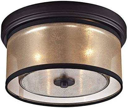 """2021 ELK online Lighting 57025/2 Diffusion Collection 2 Light Flush Mount, new arrival 6 x 13 x 13"""", Oil-Rubbed Bronze sale"""