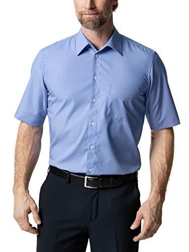 Walbusch Herren Hemd Bügelfrei Kragen ohne Knopf einfarbig Azur 40 - Kurzarm