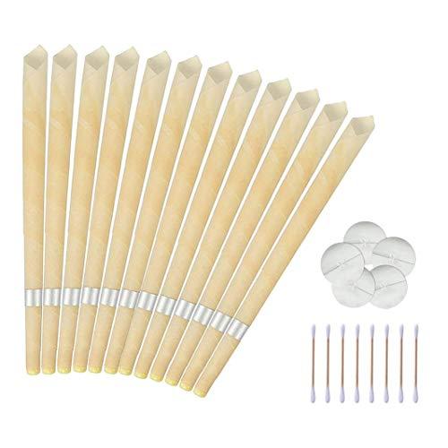 Ohrenkerzen zur Reinigung 12 Stück, Ohrkerzen Ohrenschmalz Entferner Kit mit Natürliches Bienenwachs, Ohr Wachs Kerzen mit Schutzscheiben und Wattestäbchen für Entspannen und Reinigen