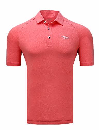 HCCX Men's Golf overhemden, Lichtgewicht, ademend, Deodorant, UV-bestendig, Functionele stoffen (comfortabel, vrij schommelen), Geschikt voor (lente, zomer, herfst) drie-seizoenen golf Polo Shirt