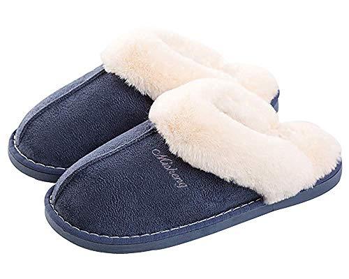Zapatillas de Estar por Hombre/Mujer Fluff Pantuflas casa Invierno Antideslizantes Cálido Slippers Confortables Zapatos Interior/al Aire Libre