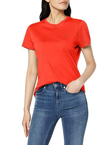 Tommy Hilfiger Damen Crew Neck Tee Hemd, Oxidized Orange, M