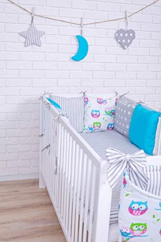 Baby Bettwäsche Design9 Nestchen Bettset 100x135 für Babybett Decke Kissen Bettumrandung