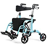 Best Rollators - GYMAX Lightweight Rollator, Foldable Mobility Walker with 4 Review