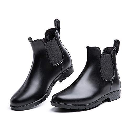 Botas de Agua Mujer Botines Lluvia Goma Jardín Trabajo Impermeables Chelsea Boots Antideslizante Cómoda Negro Talla38
