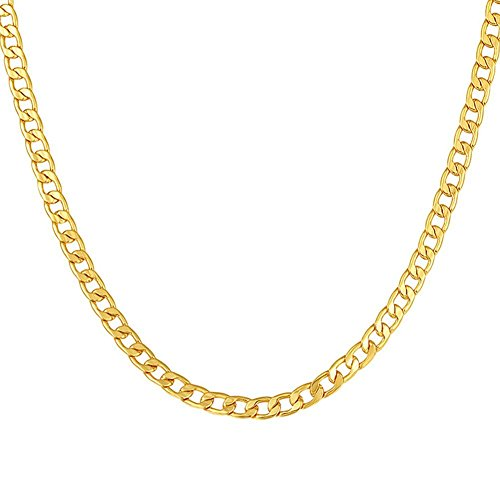 MMTTAO Men Cuban Curb Gold Chain Necklace for Women 5MM Wide 24 Inches Real 18K Gold Plated Hip Hop Hiphop Men's Rock Fashion Jewelry Gifts with 18K Stamp,Curb Chain,5mm Wide,18K-Gold-Plated,24Inches