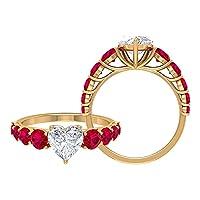2.50カラットクラシック婚約指輪モアッサナイトとルビー (7mm ハートカットモアッサナイト), 14K イエローゴールド, Size: 9