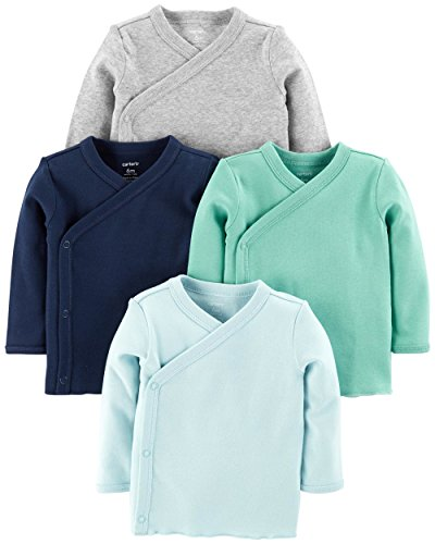 Carter's Baby Boys 4-Pack Cotton Kimono Side-Snap Tees (Blue/Green/Grey, Preemie)