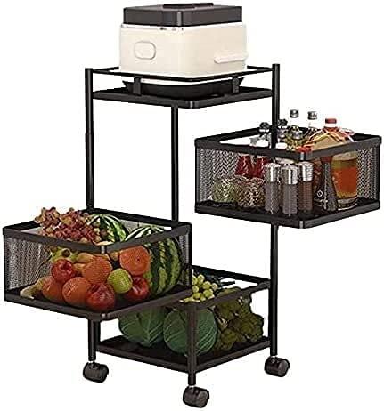 Chilequano Estantería de vegetales giratorios, estante de cocina de múltiples capas cuadradas de pie en capas, unidad de estante de pie, almacenamiento de cocina, rotación, estante, estante, estante,