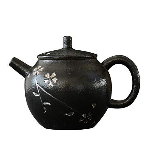 Service à thé théières, Porcelaine en céramique Sakura Peint à la Main Filtre en céramique argentée en grès de Style Japonais Pot Unique poterie Noire