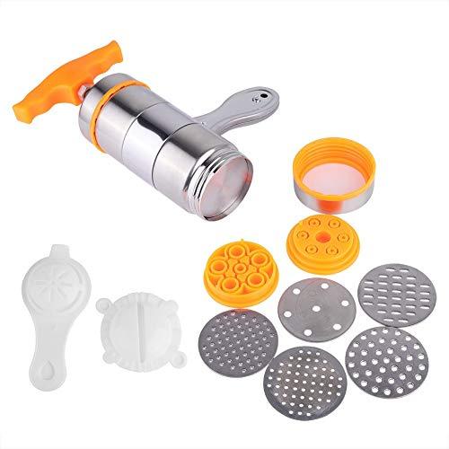 KSTEE KSTE Nudelmaschine Presse, Nudelmaschine Haushaltshandbuch Edelstahl Nudelmaschine Noddles Presser Orange Herstellungsmaschine mit 7 Formen