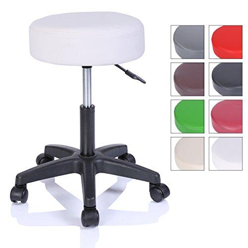 TRESKO Tabouret de Travail Tabouret à roulettes siège pivotant par 360 degrés, Rembourrage de 10 cm, de 8 Couleurs différentes (Blanc)