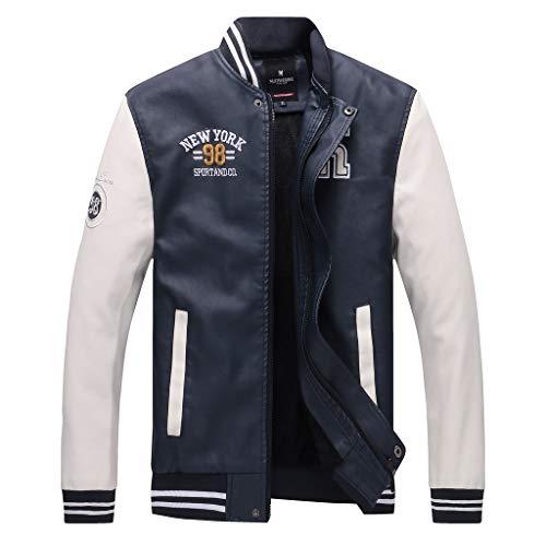 AmyGline Jacke Herren Lederjacke Lässig Mode Stehkragen Leder Jacke Baseball uniform Mantel Motorradjacke Bikerjacke Übergangsjacke Männer Jacken Bomberjacke Sweatjacke
