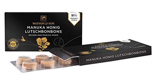 Watson & Son Manuka Honig Lutschbonbons Natural MGO 400+ (1 x 22 g), Lutschtabletten mit 91% Premium Manuka Honig