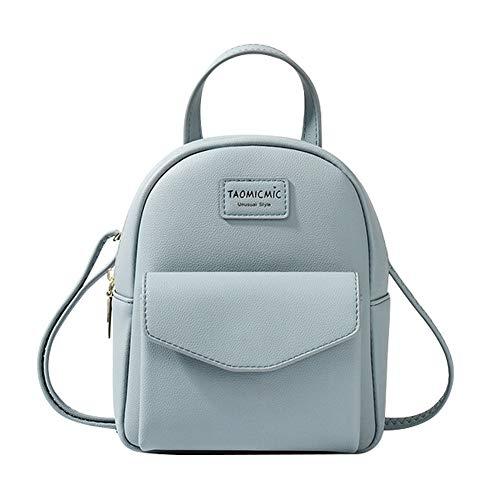 Aomiduo Mini Rucksack Damen, kleine Umhängetasche Reise Umhängetaschen Handtasche Brieftasche Leder Schulranzen Schultasche Tagesrucksack, Geschenke für Mädchen, Blau