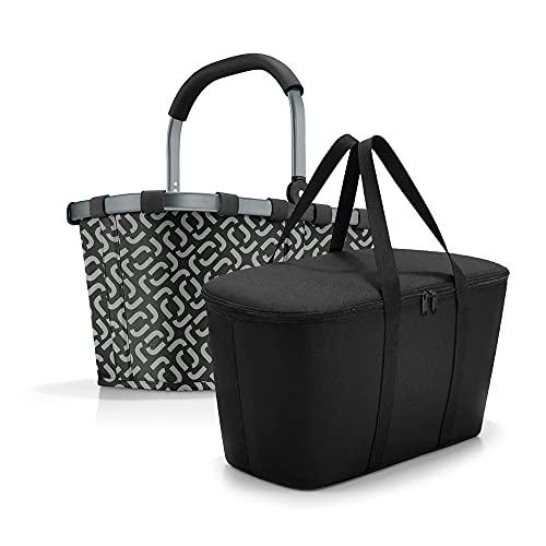 Reisenthel Set de carrybag BK + Coolerbag UH BKUH, cesta de la compra con bolsa térmica a juego, Frame Signature Black + Black, Bolso weekend