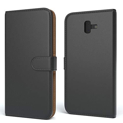 EAZY CASE Tasche für Samsung Galaxy J6 Plus Schutzhülle mit Standfunktion Klapphülle im Bookstyle, Handytasche Handyhülle Flip Cover mit Magnetverschluss & Kartenfach, Kunstleder, Schwarz