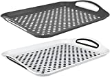 Set of 2 Anti-Slip Rectangular Non-Slip Top and Bottom Plastic Dinner/Drinks Serving Tray with High Grip Rubber Surface, Easy Grip Handles White and Grey