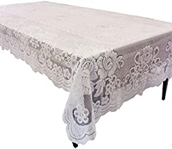 GEFEII White Lace Tablecloth Rectangular for Rectangle Table Crochet Lace Tablecloths Oblong lace Table Covers 60