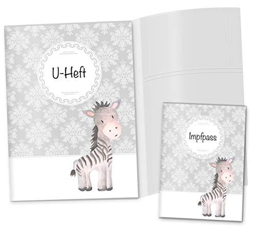 U-Heft Hülle 3-teilig Set Black & White Zebra Untersuchungsheft Hülle & Impfpasshülle schöne Geschenkidee (U-Heft Hüllen Set 3-teilig ohne Personalisierung, Zebra)