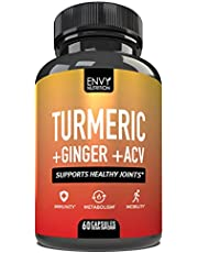 Turmeric and Ginger with Apple Cider Vinegar - Boost Immunity, Metabolism, and Mobility with 95% Curcuminoids - Bioperine & Curcumin for Enhanced Absorption - 60 Capsules