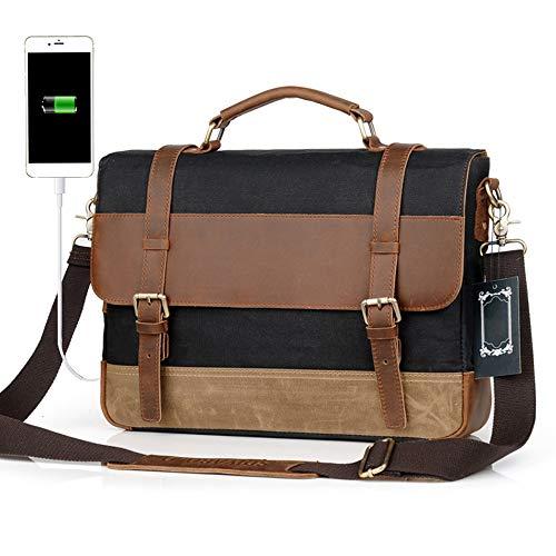 Mannen Aktetas Laptoptas Met Een USB-Aansluiting Studenten Schoudertas Messenger Bag Papieren Zak Bagage 15.6