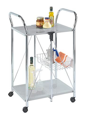 Wenko Sunny Carro de Cocina Plegable, Plata, 44x56.5x90.5 cm
