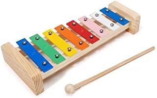 "Darice Xylophone – Wood Base with 8 Metal Keys in a Scale – Includes 7"" Wooden Mallet – Can be Painted to Customize Instrument – Makes a Gift – Ages 3+ -Fully Assembled, 11.5"", Assorted"