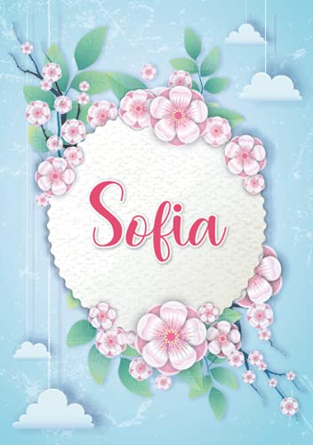 Sofia: Notebook A5 | Personalized name Sofia | Birthday gift for women, girl, mom, sister, daughter ... | Design : hanging clouds | 120 lined pages journal, small size A5 (ca. 6 x 9 inches)