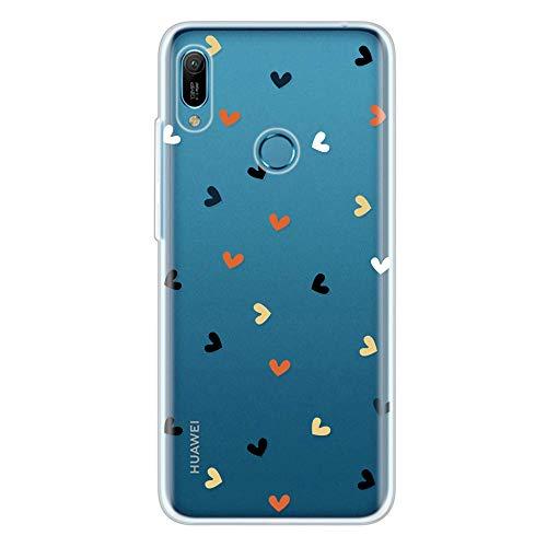 Miagon Klar Hülle für Huawei Y6 2019,Kreativ Silikon Case Ultra Schlank Transparente Weich Handyhülle Anti-Kratzer Stoßfest Schutzhülle,Bunt Herz