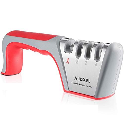 QNODO Aiguiseur de Couteaux Manuel Couteau de Cuisine 4-en-1 et Ciseaux d'affutage Système,Professionnel,Facilité, Sécurité, Fond Antidérapant à Aiguiser Couteau