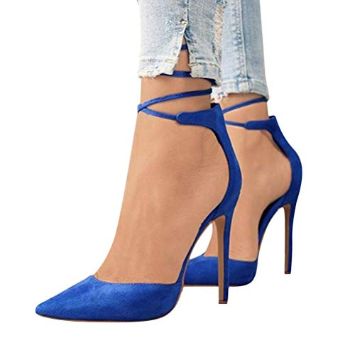 Minetom Damen Stiletto High Heels Pumps Spitz Party Basic Schuhe Geschlossen Schnürsenkel Wildleder Sandalen Abendschuhe A Blau 38 EU