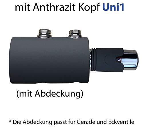 Anthrazit Thermostat für Badheizkörper mit zweirohr System Heizkörper Mittelanschluß 50mm