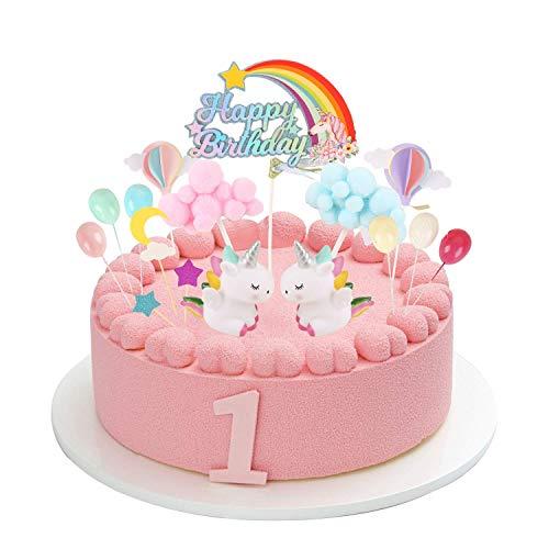 Colmanda Cake Topper Unicornio, Topper Cake Decoración Cupcake Topper Set para cumpleaños Decoración de la Torta del Banquete de Boda