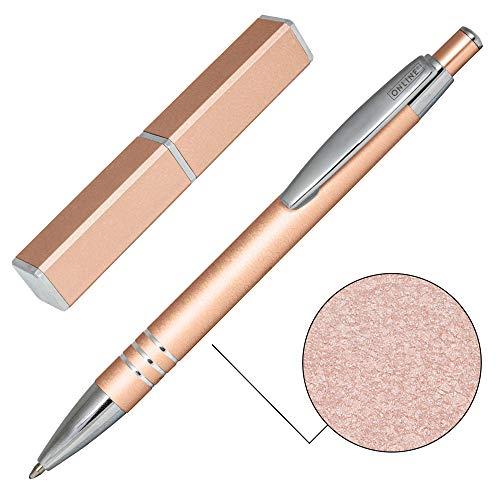 ONLINE Kugelschreiber Graphite, edler Metall-Kugelschreiber, Druckkugelschreiber aus Aluminium, auswechselbare Mine, Schreibfarbe schwarz, Geschenk-Idee, Roségold
