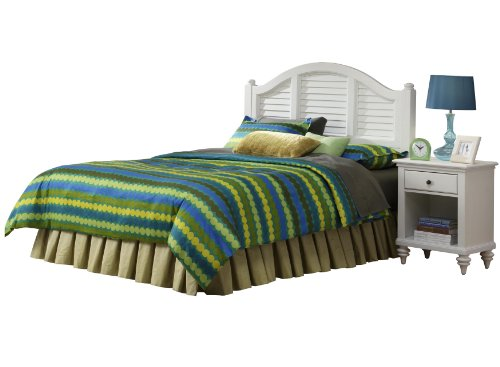 Home Styles Bermuda White Queen Headboard with Nightstand, Single Drawer, Open Lower Shelf, Shutter Style Design, and Brush Stroke Finish