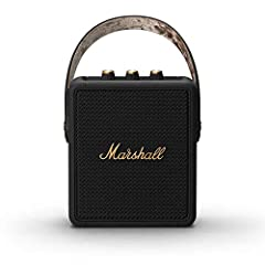 Stockwell II offers 20+ hours of portable playtime on a single charge. Its pint-sized frame and guitar inspired carry strap make it perfect to take with you. Utilizes True Stereophonic, a unique form of multi-directional sound from Marshall. Experien...
