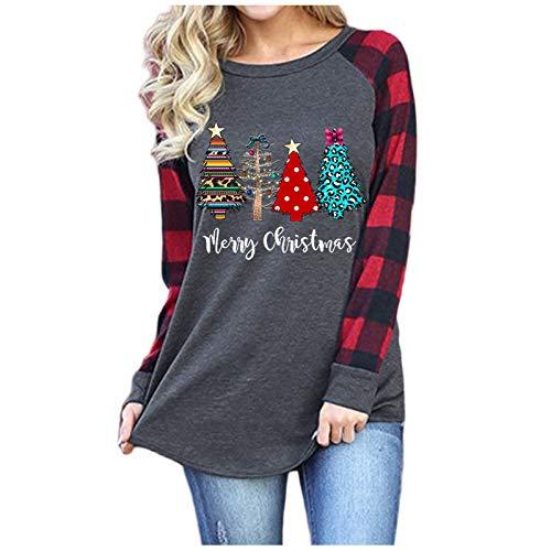 Wenese 2020 Weihnachten Damen Weihnachtspullover Rundhals Langarm T-Shirt Elch Druck Rundhals Sweatshirt Basic Tops Bluse Shirt Pullover Druck Sweater