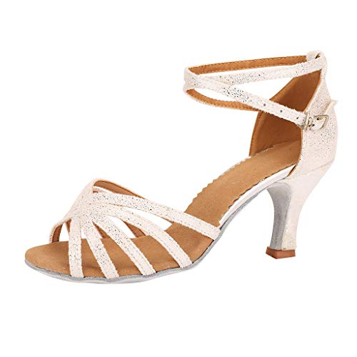 Patifia Damen Schuhe, Damenmode Elegant einfarbig Walzer Modern Dance Schuh Ballsaal Latin Dance Soft Bottom Sandalen Pumps Strand Sommerschuhe Open
